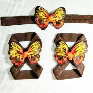 Fall Butterfly Headband and Barefoot Sandals Set