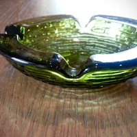 Midcentury green glass ashtray, vintage art glass, mad men ashtray, smoking decor, barware