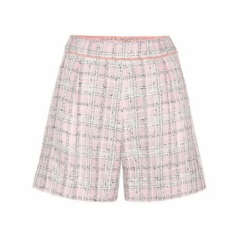 Knitted wool and cotton-blend shorts