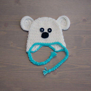 Crochet Polar Bear Hat, Crochet Baby Hat, Newborn Photo Prop, Crocheted Baby Hat, Baby Boy, Baby Girl, Baby Shower Gift, Baby Polar Bear Hat