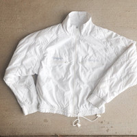 Vintage All White Reebok Bomber Jacket Women Men Clothing Coat
