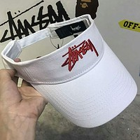 Stussy men and women couple embroidery logo empty top hat F-Great Me Store White+red logo