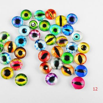 random 10--25mm 22colors for Choice All In Pairs Dragon Eyes Round Glass Cabochon   Finding Cameo Pendant Settings 10pcs/lOT