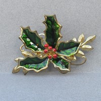 Vintage Enamel HOLLY Gold Tone Christmas Pin