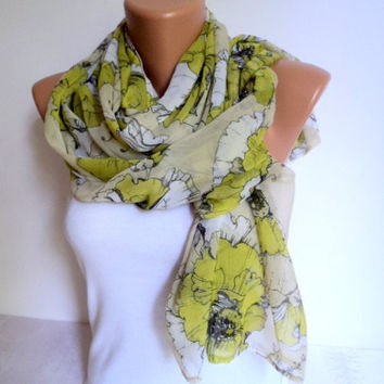 Lime green patterned scarf/ Loop scarf/ Chiffon scarf/ Scarves women/ Circle scarf/Ready to shipping.