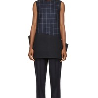 Jacquemus Navy Structural Windowpane Check Dress