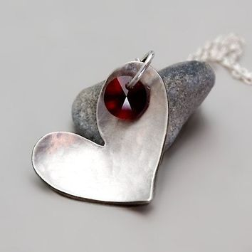 Silver Heart Necklace With Red Swarovski Crystal  by toolisjewelry