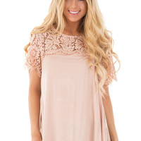 Blush Knit Top with Lace Yoke and Sleeves