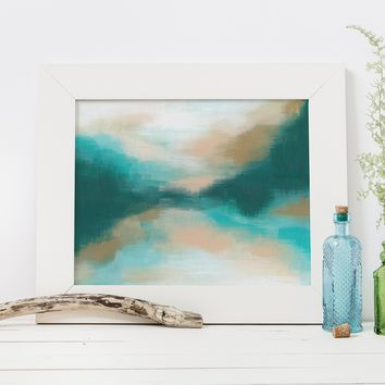 Modern Abstract Ocean Painting Green and Blue Wall Art Print