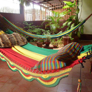 Rastafari Colors Two Double Hammock handwoven Natural by hamanica