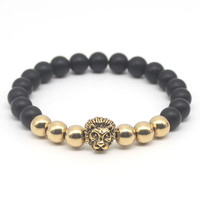 Gold Plated Buddha Leo Lion Head Bracelet Black Matte Stone Beaded Bracelets