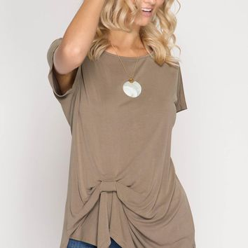 Knot Front Top - Light Mocha