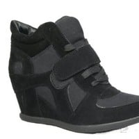 Sammy 6 Velcro High Top Wedge Sneaker Black,Sammy-6-Black 8 Runs Small
