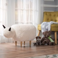 Perry White Velvet Sheep Ottoman - Walmart.com