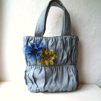 Vegan Ruffled shoulder bag, tote bag, Blue/Grey rustic linen, detachable organza flowers brooches. light weight and fresh ,READY TO SHIP.