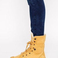 Palladium Baggy Leather Amber Gold Shearling Lined Boots