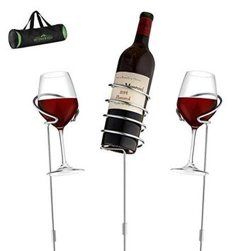 Wine Bottle & Cup Standing Holder Rack | Adjustable Height, Durable Metallic Frame, Sturdy Base & Secure Grip | Holds Bottles Of Wine, Beer,Champagne,Beverages,Glasses& More (3 Pieces Set)