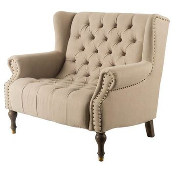 Pierson Upholstered Chair with Brass Nail Heads