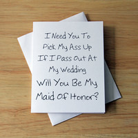 Maid Of Honor Card, Wedding Card, BFF Card, Funny Card, Maid Of Honor Gift, Best Man Card, Card For Him