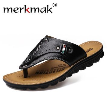 Merkmak Men Flip Flops Genuine Leather Slippers Summer Fashion Beach Sandals Casual Leisure Shoes for Man Soft Comfortable