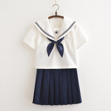 2018 summer japanese school uniforms sailor tops+bow+skirt navy style students clothes for girl lala cheerleader clothing plus