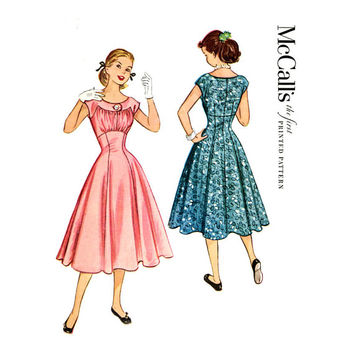 1950s Dress Pattern McCalls 9615 Bust 32 Fit & Flare Fitted Midriff Shirred Bodice Day Evening Rockabilly Womens Vintage Sewing Patterns