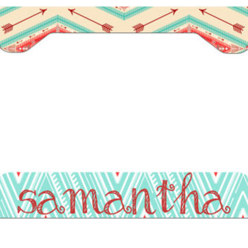 Aztec License Plate Frame - Tribal License Plate Frame - Personalized License Plate - Custom License Plate Frame - Monogram License Plate