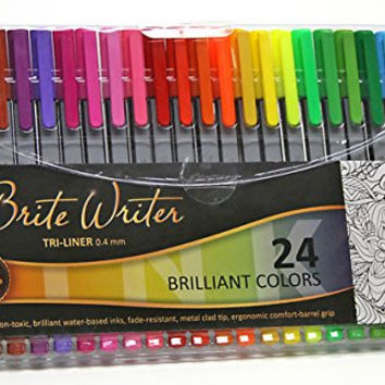 Premium Ultra-Fine Markers, Brite Writer Tri-Liner 0.4 mm, 24-Pack, Fineliner, Ultra-fine pens, non-toxic, brilliant water-based inks, fade-resistant, metal clad tip, ergonomic comfort-barrel grip