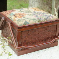 Vintage Wood Sewing Basket, Handles, Wicker Basket with Lid, Floral Upholstery Top, Sewing Supply, Large Sewing Basket, Brown