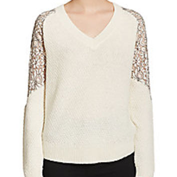 Cooper & Ella - Lace Inset V-Neck Sweater - Saks Fifth Avenue Mobile