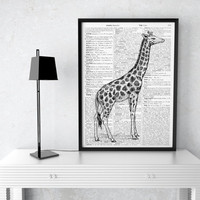 Animal poster Dictionary art Giraffe print African decor TO99