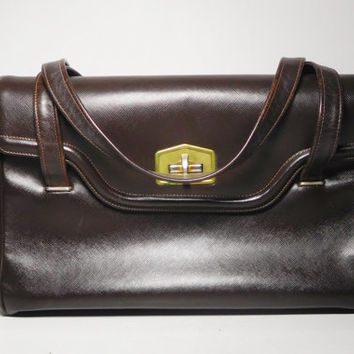 Large Dark Brown Top Handle Bag with Cleats Brass Closure 2 Straps 6 Compartments Wide Expandable Vintage Purse
