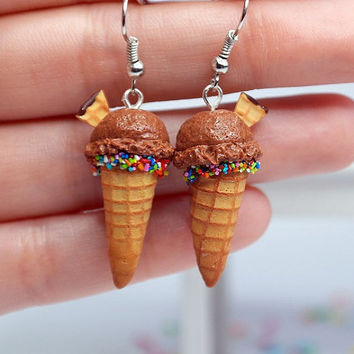 Chocolate ice cream earrings Miniature food jewelry, polymer clay ice cream, miniature food earrings,  Waffle Cone