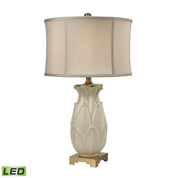 D2598-LED Ceramic Leaf LED Table Lamp in Cream Crackle And Antique Brass - Free Shipping!