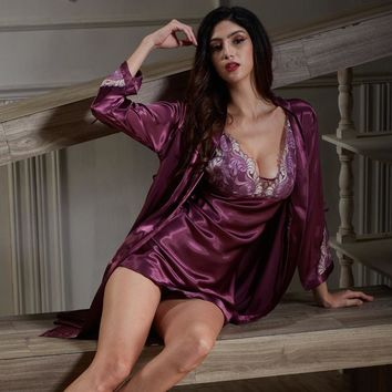 New woman nightgown silk robe female sexy sling lingerie robe two sets Lace hollowout nightgowns woman sleeping skirt suit