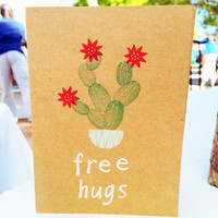 Free Hugs Cactus Card, Hand Stamped Blank Greeting Card, Farmer's Market Card, All Occasion Card, Holiday Gifts, Christmas Gift, Stationary