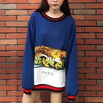 MDIGNQ2 Gucci Fashion Tiger Print Long Top Sweater Pullover