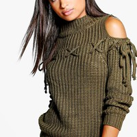 Ellie Lace Up Cold Shoulder Jumper