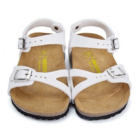 2017 fashion Birkenstock Summer Fashion Leather Cork Flats Beach Lovers Slippers Casual Sandals For kid Couples Slippers size 24-34