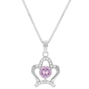 """925 Sterling Silver Pink Clear CZ Crown Princess Pendant Necklace Girl Teens 16"""""""