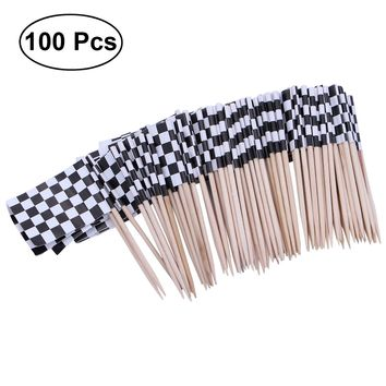 Pack of 100 Racing Flag Toothpicks Checkered Flag Picks Appetizer Toothpicks Fruit Sticks for Cocktail Party - Black and White