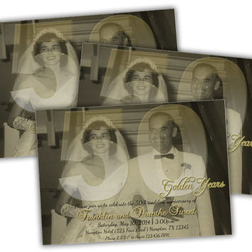 Golden Vintage 50th Wedding Anniversary Vow Renewal Invitations - 50th Anniversary Photo Invites - Gold Anniversary Party Invitation  Photo