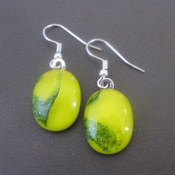 Yellow and Green Fused Glass Earrings Dangle Glass by mysassyglass