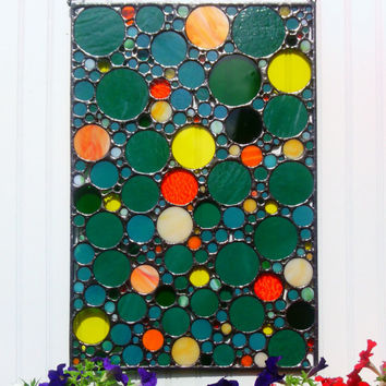 Circle Collage Abstract Glass Art Stained Glass Panel