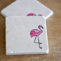 Flamingo Marble Coasters