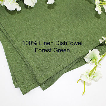 "Forest Green Pure Linen Dish Towel, 100% Linen Dish Towel, Linen Tea Towel, 16""x25"""