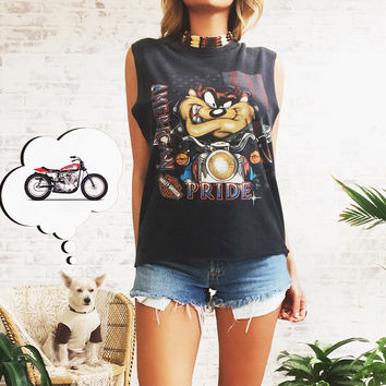 Vintage 80s 90s HARLEY DAVIDSON American Pride Looney Tunes Biker Cut Off Tee || Minot North Dakota || Size Medium