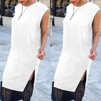 White Round Collar Sleeveless Cut Out Slit Dress