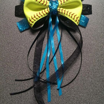 Softball Hair Ponytail BOW