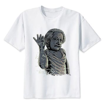 Albert Einstein t shirt men hip hop fashion t-shirt male white print tees